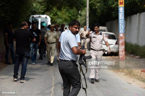 Team members from the Special Cell at the site of an encounter between the Special Cell and a gang of criminals in the Fatehpur Beris Chanan Hola...