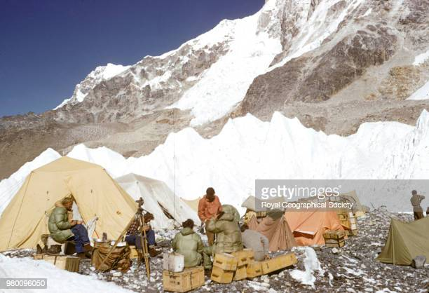 Team members gather at Base Camp Nepal March 1953 Mount Everest Expedition 1953