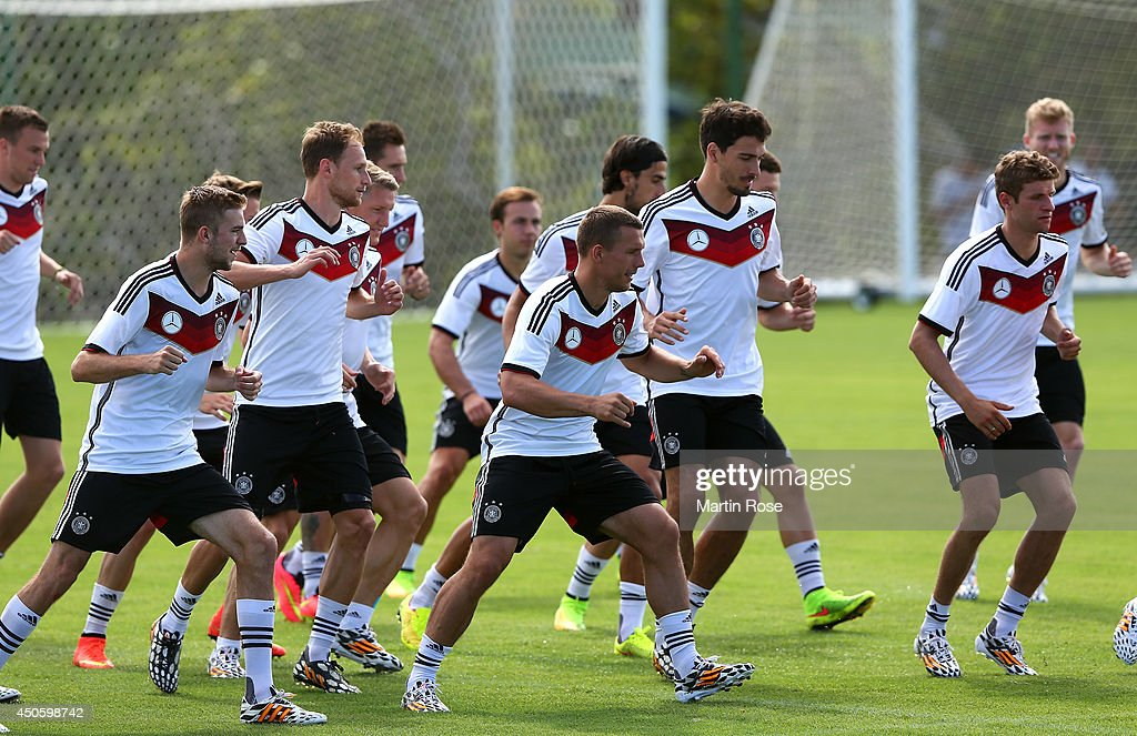 Team members in action during the German National team training at Campo Bahia on June 14, 2014 in Santo Andre, Brazil.