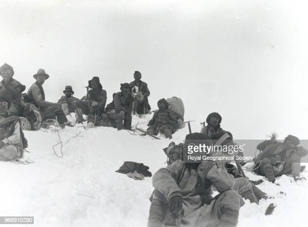 Team members including Mallory and Sherpas at a rest stop on Everest China 20th March 1922 Mount Everest Expedition 1922