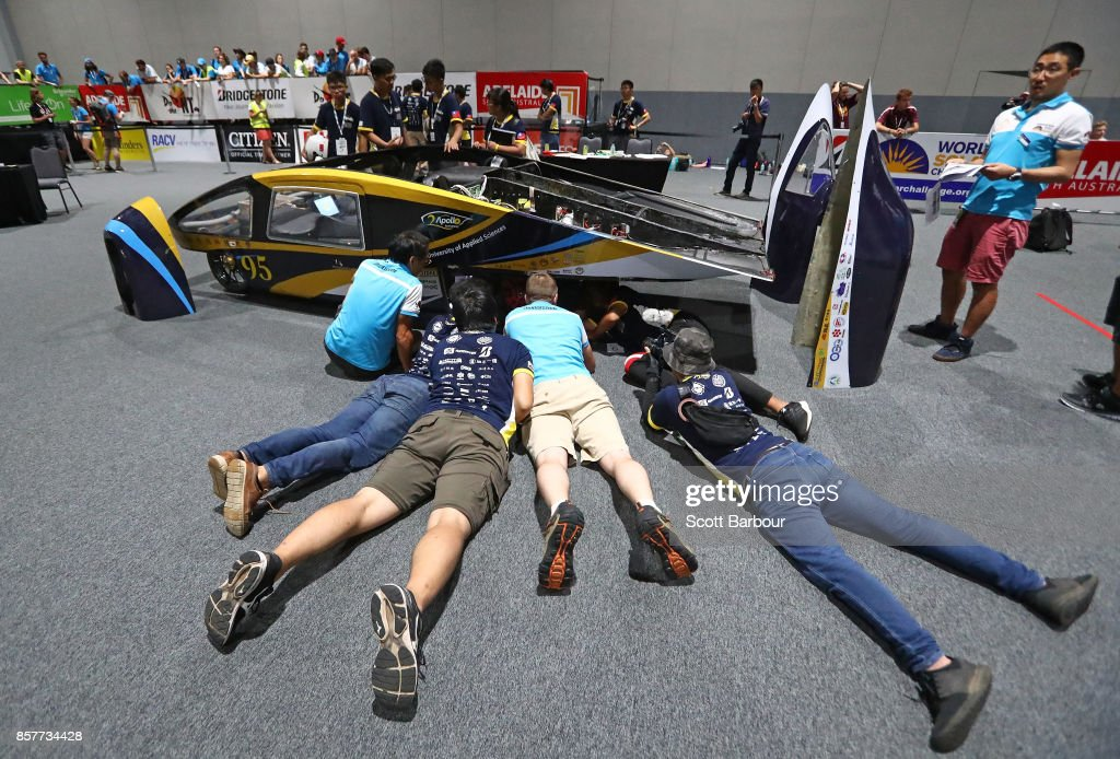 Team members look on as Apollo VIII, the car from Taiwan's National Kaohsiung University of Applied Sciences (KUAS) & St. John's University Solar Car Team is tested during Static Scrutineering before competing in the Cruiser class ahead of the 2017 Bridgestone World Solar Challenge on October 5, 2017 in Darwin, Australia. Teams from across the globe are competing in the 2017 World Solar Challenge - a 3000 km solar-powered vehicle race through the Australian Outback between Darwin and Adelaide. The race attracts teams from around the world, most of which are fielded by universities or corporations although some are fielded by high schools. The race has a 30-year history spanning thirteen races, with the inaugural event taking place in 1987. The race begins on October 8th with the first car expected to cross the finish line on October 11th.