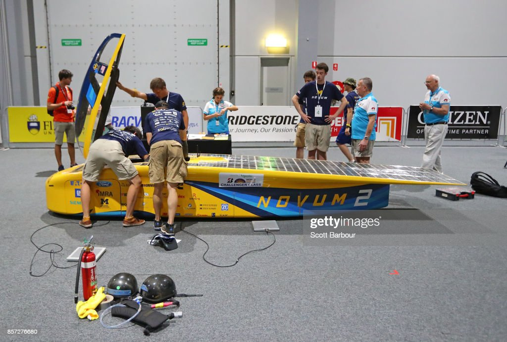 Team members look on as Novum, the car from the United States University of Michigan Solar Car Team is tested during Static Scrutineering before competing in the Challenger class ahead of the 2017 Bridgestone World Solar Challenge on October 4, 2017 in Darwin, Australia. Teams from across the globe are competing in the 2017 World Solar Challenge - a 3000 km solar-powered vehicle race through the Australian Outback between Darwin and Adelaide. The race attracts teams from around the world, most of which are fielded by universities or corporations although some are fielded by high schools. The race has a 30-year history spanning thirteen races, with the inaugural event taking place in 1987. The race begins on October 8th with the first car expected to cross the finish line on October 11th.