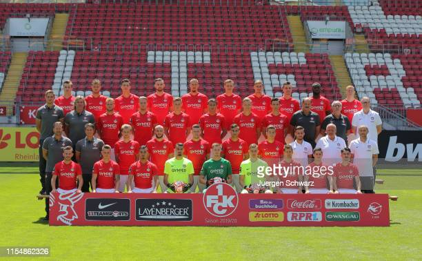 Team members of 1 FC Kaiserslautern pose during the team presentation at FritzWalterStadion on July 10 2019 in Kaiserslautern Germany Picture shows...