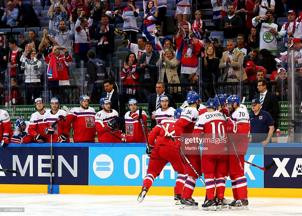 Team members of Czech Republic celebrate their 2nd goal during the IIHF World Championship group A match between Latvia and Czech Republic at o2 Arenaon May 2, 2015 in Prague, Czech Republic.