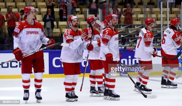 Team members of Denmark look dejected after the 2018 IIHF Ice Hockey World Championship Group B game between Latvia and Denmark at Jyske Bank Boxen...