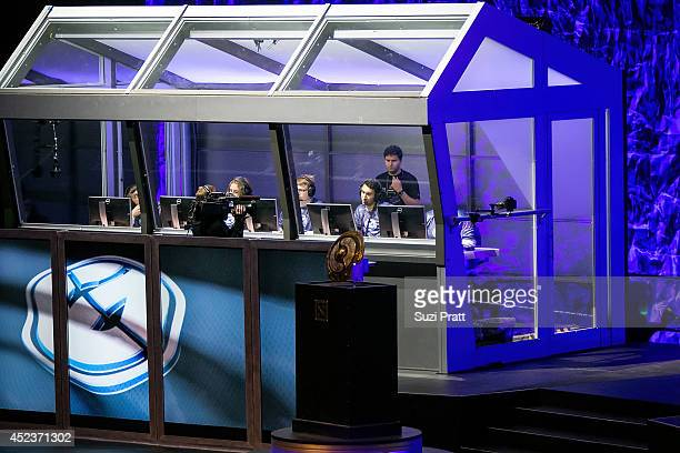 Team members of Evil Geniuses compete at The International DOTA 2 Championships on July 18 2014 in Seattle Washington
