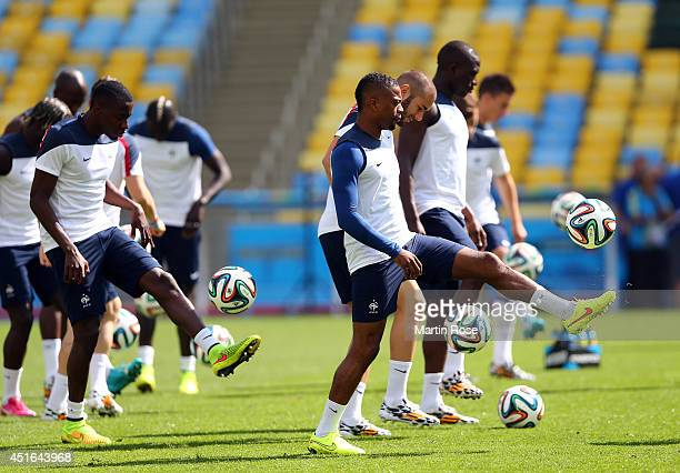 Team members of France in action during a France national team training session at Maracana on July 3 2014 in Rio de Janeiro Brazil