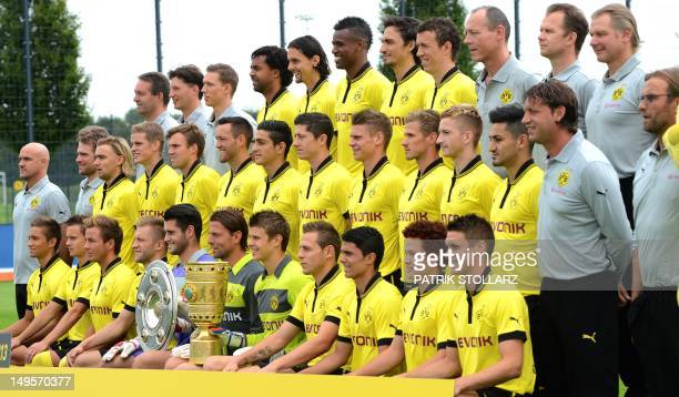 Team members of German first division Bundesliga football club Borussia Dortmund winner of the German League and German Cup in the season 2011/2012...