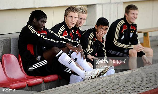 Team members of Germany are seen prior to the U17 friendly international match between Germany and Israel at the Belkaw Arena on September 22 2009 in...