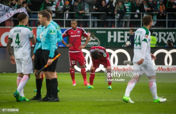 Team members of Ingolstadt are down after loosing the Bundesliga match between FC Ingolstadt 04 and Werder Bremen at Audi Sportpark on April 22 2017...