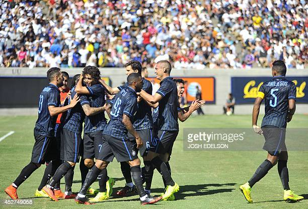 Team members of Inter Milan celebrate after beating Real Madrid 21 in an International Champions Cup match in Berkeley California on July 26 2014 AFP...