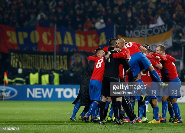 Team members of Plzen celebrate after winning in the UEFA Champions League group D match between PFC CSKA Moscow and Viktoria Plzen at Doosan arena...