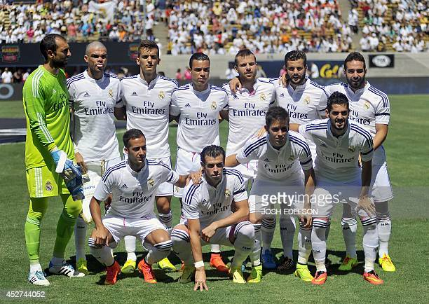 Team members of Real Madrid pose for a brief team photo before the start of an International Champions Cup match against Inter Milan in Berkeley...