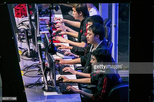 Team members of Team DK compete at The International DOTA 2 Championships on July 18 2014 in Seattle Washington