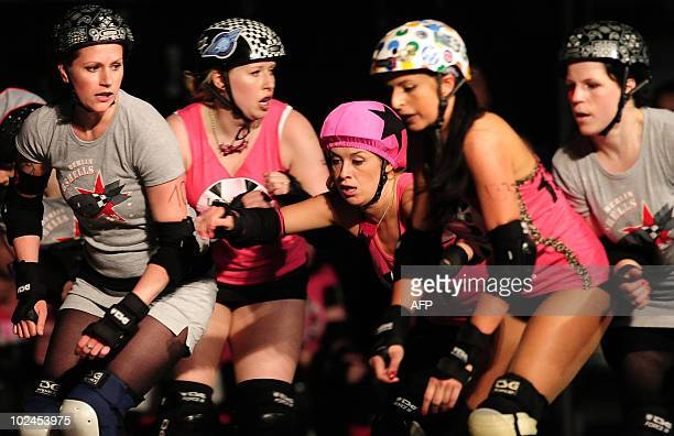 Team members of the British 'Brawl Saints' compete in the Roller Derby against the 'Berlin Bombshells' in Berlin on June 26 2010 Roller derby is an...