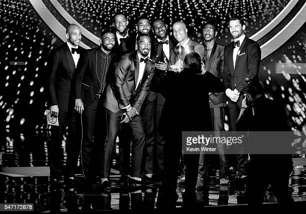 Team members of the Cleveland Cavaliers accept the award for Best Team onstage during the 2016 ESPYS at Microsoft Theater on July 13, 2016 in Los...