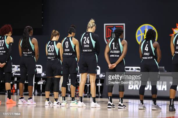 Team members of the New York Liberty honoring the memory of Breonna Taylor by wearing Taylor's name on their jerseys on July 25, 2020 at Feld...