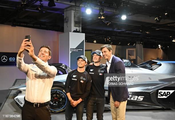 Team MercedesBenz IQ Formula E Team Principal Ian James FIA Formula E drivers Nyck de Vries and Stoffel Vandoorne and Mercedes racing chef Toto Wolff...