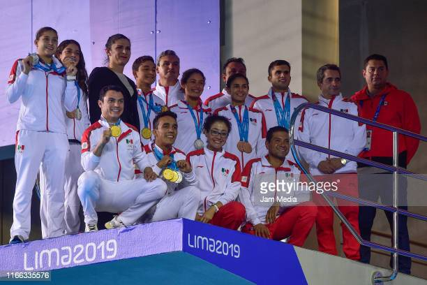 Team Mexico after Medal Ceremony Men's Diving 10m Platform Final on Day 10 of Lima 2019 Pan American Games at Aquatic Center of Villa Deportiva...