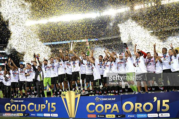 Team Mexico celebrate after defeating Jamaica in the CONCACAF Gold Cup Final at Lincoln Financial Field on July 26 2015 in Philadelphia Pennsylvania...