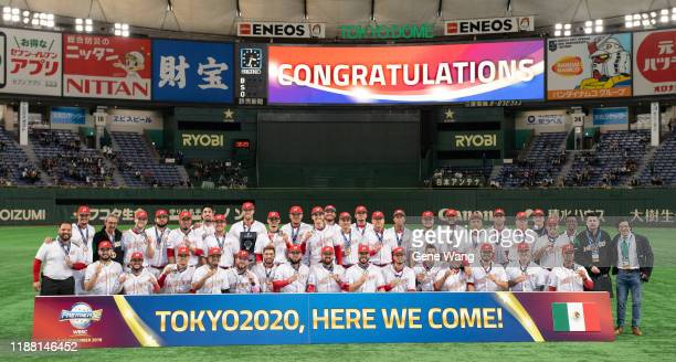 Team Mexico poses for photos after winning the WBSC Premier 12 Bronze Medal final game between Mexico and USA at the Tokyo Dome on November 17 2019...