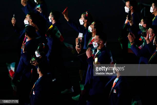 Team Mexico walk during the Opening Ceremony of the Tokyo 2020 Olympic Games at Olympic Stadium on July 23, 2021 in Tokyo, Japan.