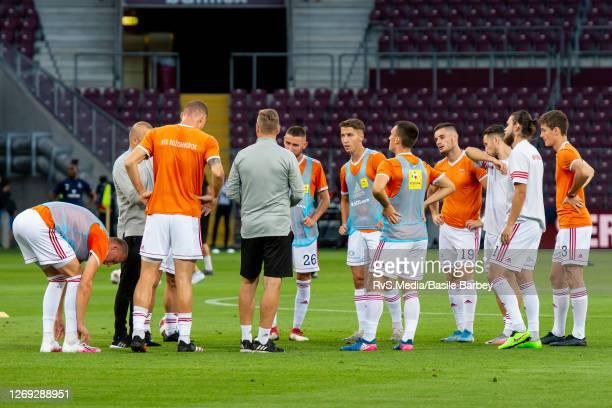 Team MFK Ruzomberok warms up prior the UEFA Europa League qualification match between Servette FC and MFK Ruzomberok at Stade de Geneve on August 27,...