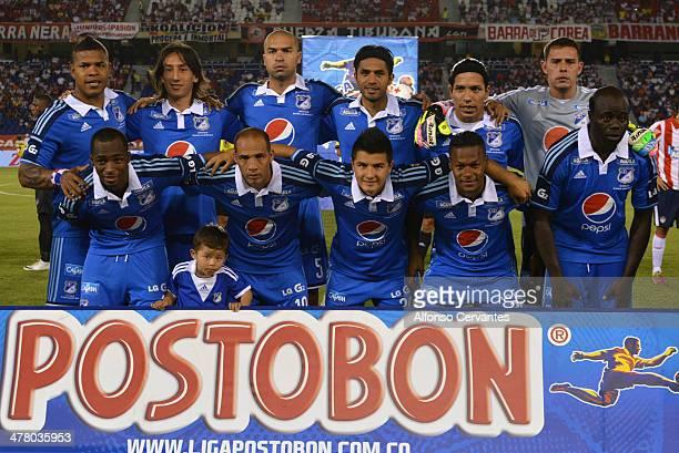 Team Millonarios pose for a photo before a match between Junior and Millonarios as part of round 10 of Liga Postobon 2014 at Metropolitano Roberto...