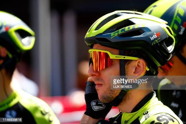 Team Mitchelton rider Great Britain's Simon Yates prepares to take part in stage eighteen of the 102nd Giro d'Italia Tour of Italy cycle race 222kms...