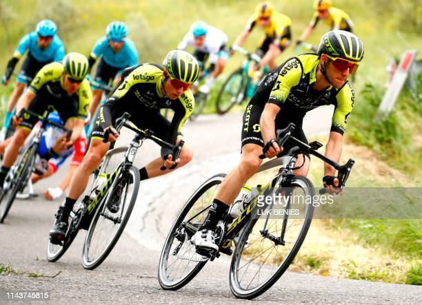 Team Mitchelton rider Great Britain's Simon Yates ride with peloton during the stage four of the 102nd Giro d'Italia - Tour of Italy - cycle race,...
