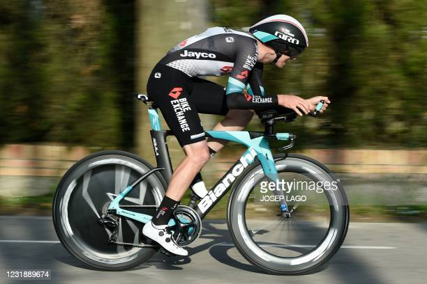 Team Mitchelton rider New Zealand's Dion Smith competes during the second stage of the 100th Volta Catalunya 2021 a 18,5 km Individual time-trial...