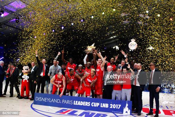 Team Monaco celebrates his victory with the trophy during of the Leaders Cup Final match between Lyon Villeurbanne and Monaco at Disneyland Resort...