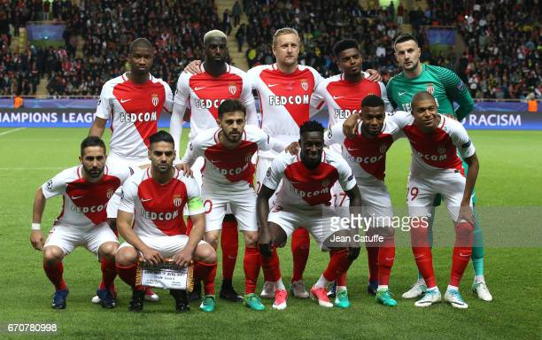 Team Monaco poses ahead of the UEFA Champions League quarter final second leg match between AS Monaco and Borussia Dortmund at Stade Louis II on...