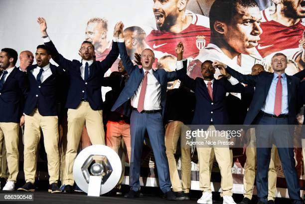 Team Monaco with the trophy during AS Monaco French Ligue 1 Winners Parade on May 21 2017 in Monaco Monaco