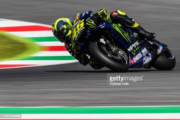 Team Monster Energy Italian rider Valentino Rossi rides his Yamaha during a free practice session for the Italian Moto GP Grand Prix at the Mugello...