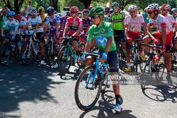 Team Movistar rider Colombia's Nairo Quintana and riders prepare to take the start of the eleventh stage of the 2019 La Vuelta cycling Tour of Spain,...