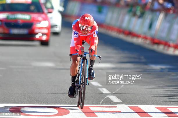 Team Movistar rider Colombia's Nairo Quintana crosses the finish line of the tenth stage of the 2019 La Vuelta cycling Tour of Spain, a 36,2 km...