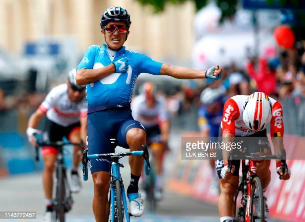 TOPSHOT Team Movistar rider Ecuador's Richard Carapaz celebrates as he finishes first in the stage four of the 102nd Giro d'Italia Tour of Italy...
