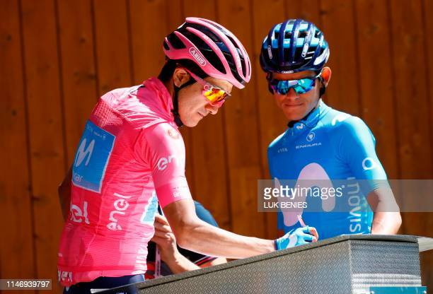 Team Movistar rider Ecuador's Richard Carapaz prepares to take part in stage eighteen of the 102nd Giro d'Italia Tour of Italy cycle race 222kms from...