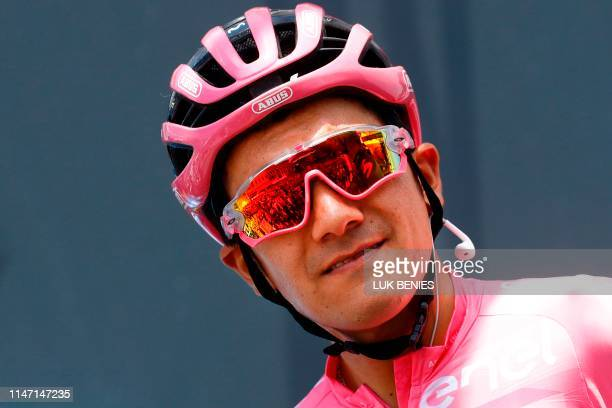 Team Movistar rider Ecuador's Richard Carapaz prepares to take the start of the 19th stage of the 2019 Giro d'Italia the cycling Tour of Italy on May...