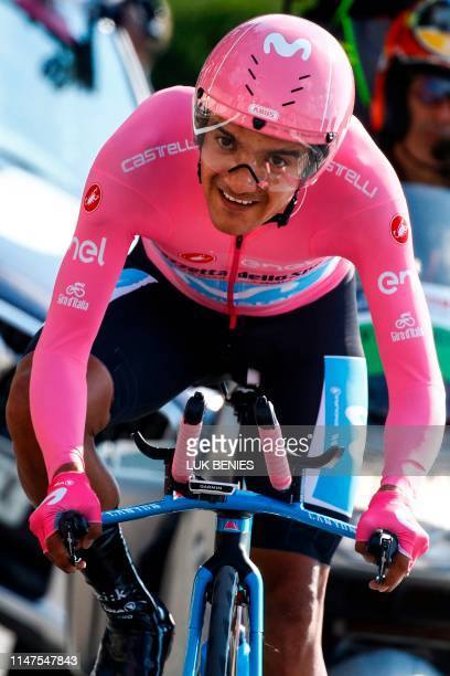 Team Movistar rider Ecuador's Richard Carapaz rides during stage twenty-one, the final stage of the 102nd Giro d'Italia - Tour of Italy - cycle race,...