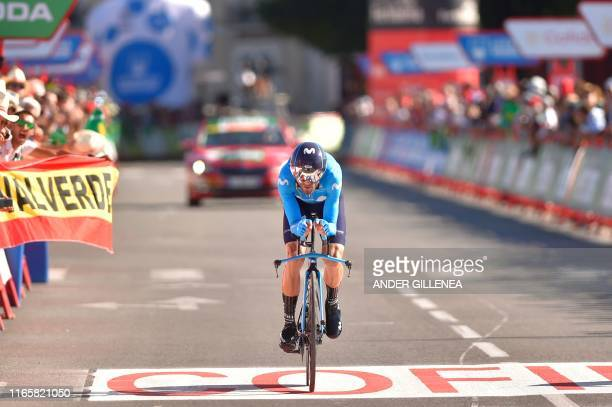 Team Movistar rider Spain's Alejandro Valverde crosses the finish line of the tenth stage of the 2019 La Vuelta cycling Tour of Spain, a 36,2 km...