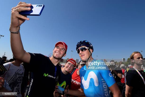 Team Movistar rider Spain's Marc Soler poses for a selfie before the second stage of the 2019 La Vuelta cycling tour of Spain, a 199,6 km race from...