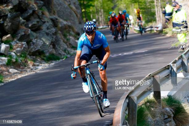 Team Movistar rider Spain's Mikel Landa rides during stage thirteen of the 102nd Giro d'Italia - Tour of Italy - cycle race, 196kms from Pinerolo to...