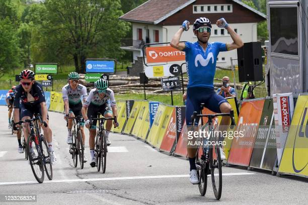 Team Movistar's Alejandro Valverde of Spain celebrates as he crosses the finish line at the end of the sixth stage of the 73rd edition of the...