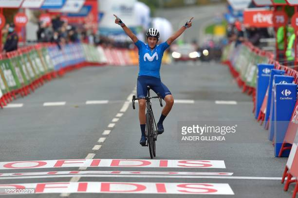 Team Movistar's Spanish rider Marc Soler celebrates as he crosses the finish-line of the 2nd stage of the 2020 La Vuelta cycling tour of Spain, a...