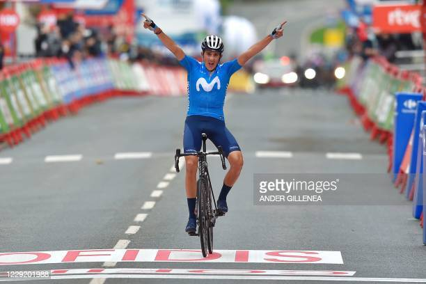 Team Movistar's Spanish rider Marc Soler celebrates as he wins the 2nd stage of the 2020 La Vuelta cycling tour of Spain, a 151,6-km race from...