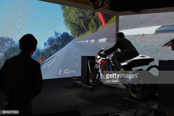 Team Mugen Shinden 4 electric battery racing bike riding Simulator during Tokyo Auto Salon at Makuhari Messe on January 12 2018 in Tokyo Japan