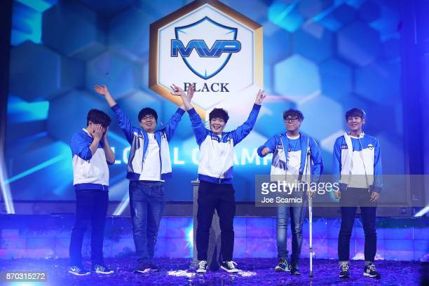Team MVP Black celebrates their win against Team Fnatic during the Heroes of the Storm HGC Finals at BlizzCon 2017 at Anaheim Convention Center on...