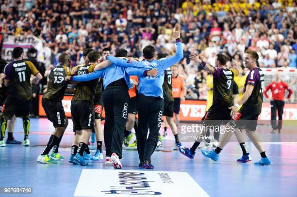 Team Nantes celebrate his victory during the Final Four EHF Champions League match between Nantes and Paris Saint Germain at Lanxess Arena on May 26...